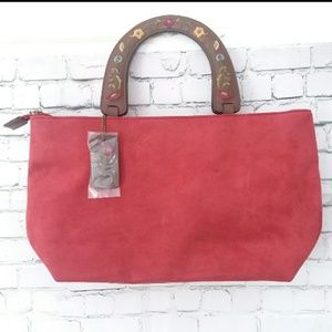 *NWOT!* RELIC red tote w/ brown flower handles